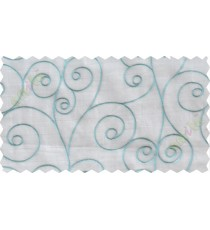 White blue scroll poly sheer curtain designs