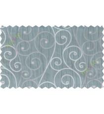 Grey blue scroll poly sheer curtain designs