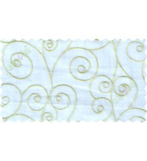 White green scroll poly sheer curtain designs