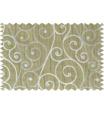 Green silver scroll poly sheer curtain designs