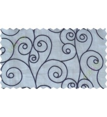 Beige indigo scroll poly sheer curtain designs