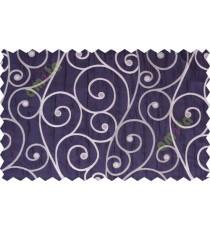 Indigo grey scroll poly sheer curtain designs