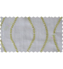 White green serpentine stripes poly sheer curtain designs