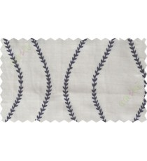 Indigo beige serpentine stripes poly sheer curtain designs