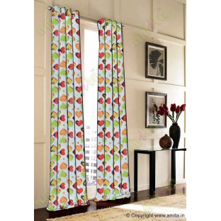 Red green white yellow orange heart flower circle poly main curtain designs