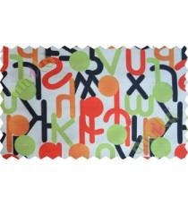 Red white green black orange geometric circles with alphabet poly main curtain designs