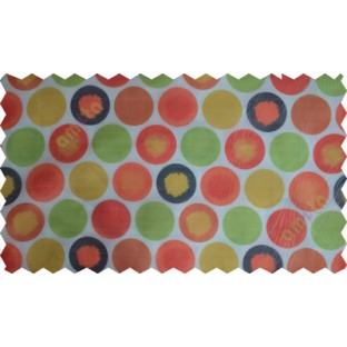 Red white black green orange colour geometric circles poly sheer curtain designs