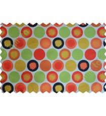 Red white black green orange yellow colour geometric circles poly main curtain designs