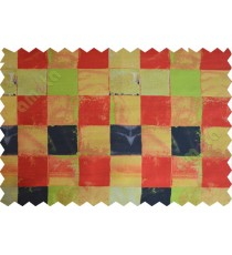 Red yellow orange black square shapes design poly main curtain designs