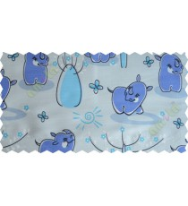 Blue black white small flower butterfly animal poly main curtain designs
