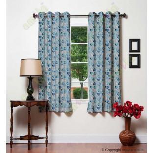 Black blue white heart flower circle poly main curtain designs