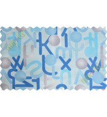 Blue brown white geometric circles with alphabet poly main curtain designs