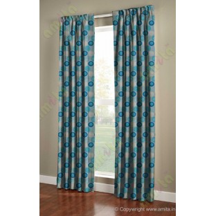Blue white colour geometric circles poly main curtain designs