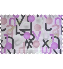 Black purple white grey geometric circles with alphabet poly main curtain designs