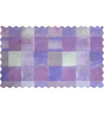 Violet blue white square shapes design poly sheer curtain designs