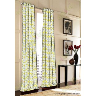 Yellow white brown heart flower circle poly main curtain designs