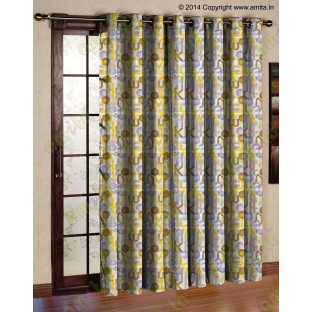 Yellow grey white geometric circles with alphabet poly main curtain designs