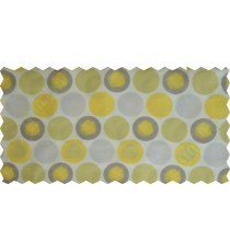 Yellow brown white colour geometric circles poly sheer curtain designs