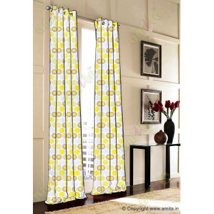 Yellow grey green white colour geometric circles poly main curtain designs