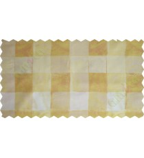 Yellow white brown square shapes design poly sheer curtain designs