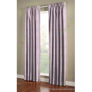 Pink purple white colour bold rain drop stripes with yellow background poly sheer curtain designs