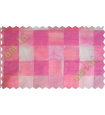 Pink white square shapes design poly sheer curtain designs