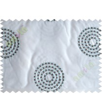 White blue medallion circle poly sheer curtain designs