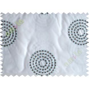White blue medallion circle poly sheer curtain designs