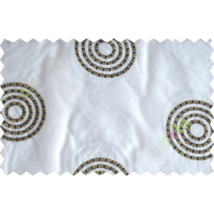 White green brown medallion circle poly sheer curtain designs