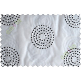 White black medallion circle poly sheer curtain designs