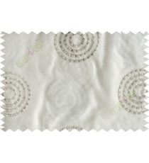 Cream grey medallion circle poly sheer curtain designs