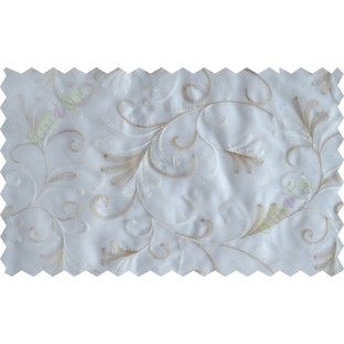 White beige scroll poly sheer curtain designs