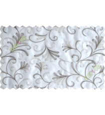 White brown grey scroll poly sheer curtain designs