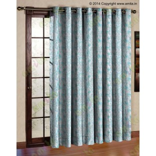 White blue green scroll poly sheer curtain designs
