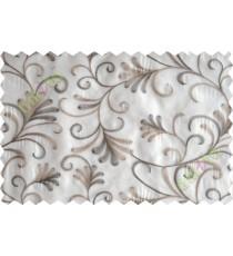 Cream brown scroll poly sheer curtain designs