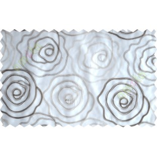 White brown big rose poly sheer curtain designs