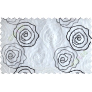 Black and white big rose poly sheer curtain designs