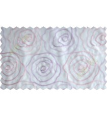 White pink purple big rose poly sheer curtain designs