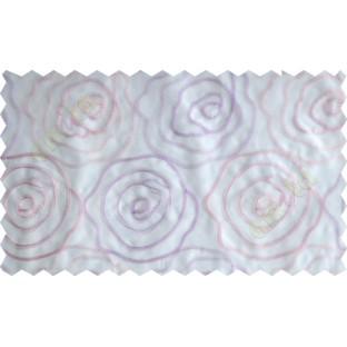 White pink purple big rose poly sheer curtain designs