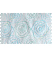 White aqua blue green big rose poly sheer curtain designs