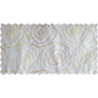 Cream gold big rose poly sheer curtain designs