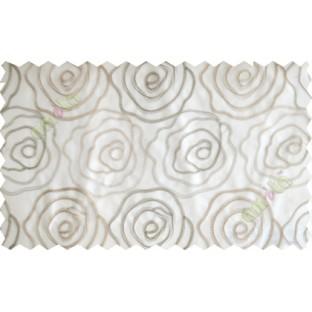 Cream brown big rose poly sheer curtain designs