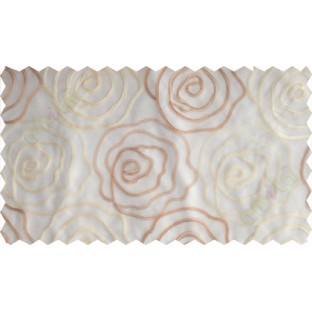 Gold orange big rose poly sheer curtain designs