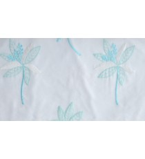 White aqua blue pinnate poly sheer curtain designs