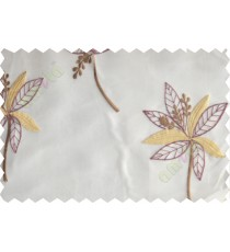 Maroon gold pinnate poly sheer curtain designs
