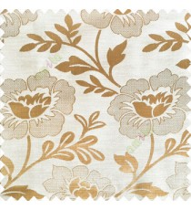 Beige color beautiful big flower patterns texture finished designs leaf long hanging flowers horizontal lines petals polyester main curtain