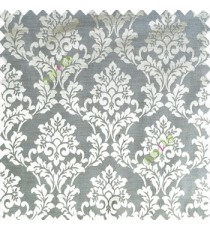 Grey color traditional designs complete damask pattern texture based fabric polyester main curtain