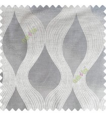 Grey color traditional ogee pattern vertical bold stripes horizontal texture lines flowing designs polyester main curtain