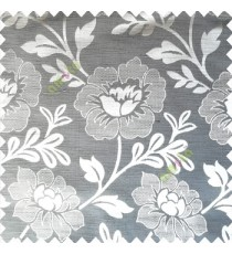 Grey color beautiful big flower patterns texture finished designs leaf long hanging flowers horizontal lines petals polyester main curtain