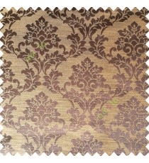 Dark coffee brown yellow color traditional designs complete damask pattern texture based fabric polyester main curtain